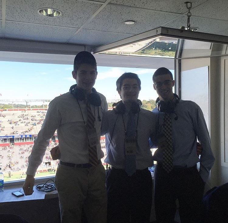 Andrew Kelley, Casey Hague and Anthony Iati in the booth during the BC Wake game.