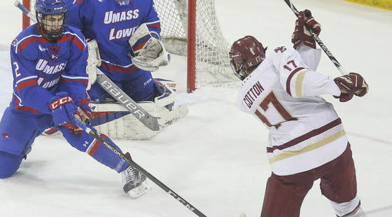 Eagles Men's Hockey Stays Atop Hockey East With Dominant Win Over UMass Lowell