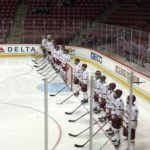Men's Hockey Sweeps Merrimack, Advances to Semis
